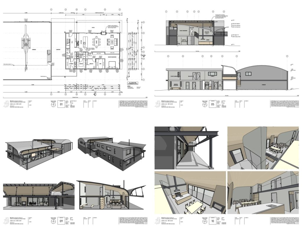 050 high tech adjustable roof house hangar helipad design