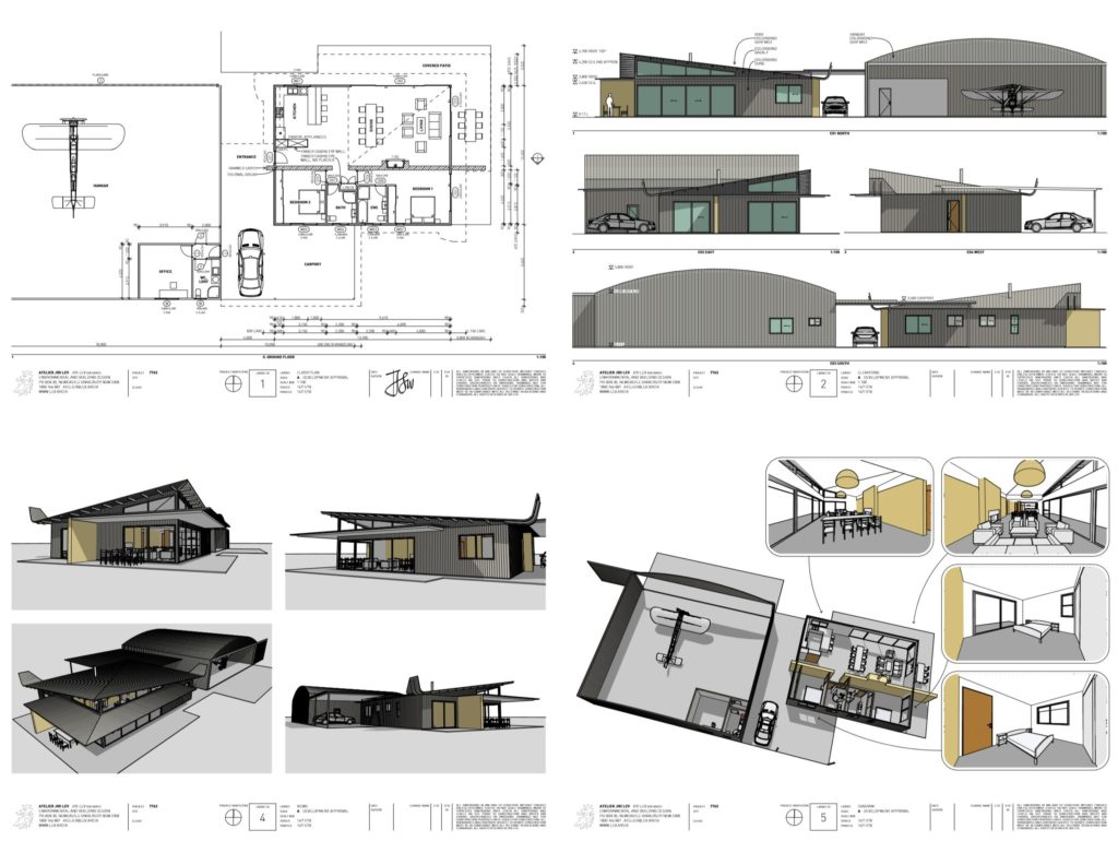 090 small airpark hangar house design